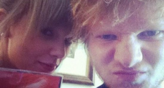 Taylor Swift posing with Ed Sheeran
