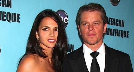 Matt Damon with his beautiful wife