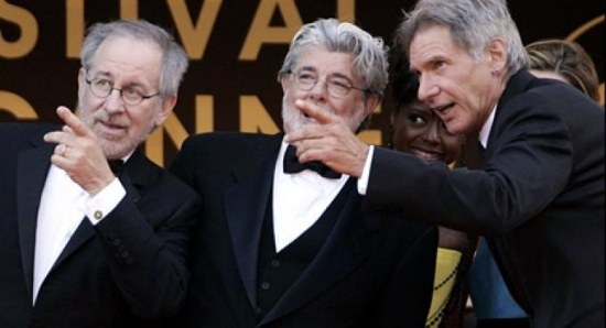 Old Steven Spielberg and George Lucas with Harrison Ford