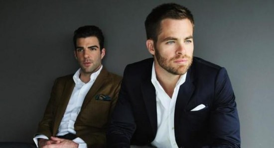 Zachary Quinto with Star Trek co-star Chris Pine