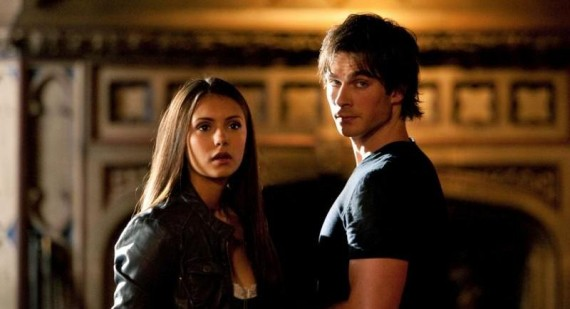 Damon and Elena preparing for The Vampire Diaries season three