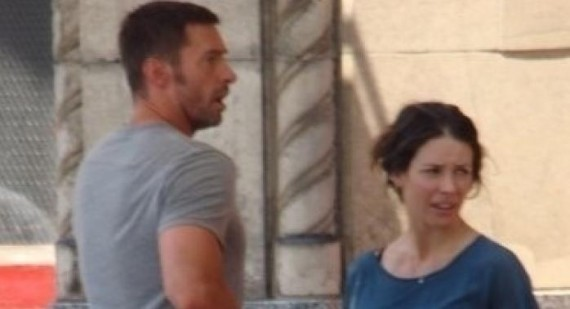 Hugh Jackman in trouble for kissing Evangeline Lilly