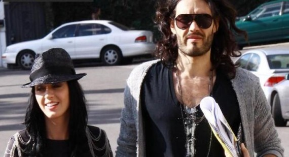 Katy Perry and Russell Brand attend basketball game