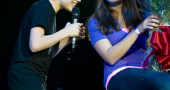 Justin bieber on stage with fan