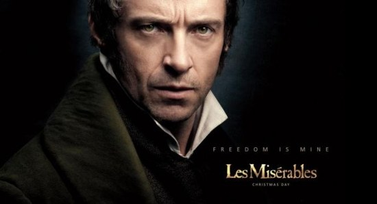 A poster for 'Les Miserables' featuring Hugh Jackman