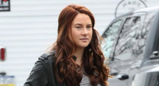 Shailene Woodley with red hair on the set of 'The Amazing Spider-Man 2'