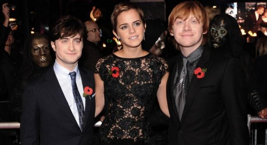 Daniel Radcliffe with his Harry Potter co-stars
