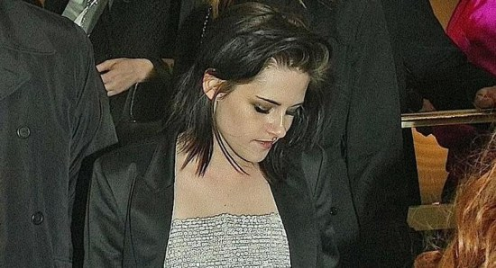 Kristen Stewart at the BAFTAs after winning the Rising Star Award