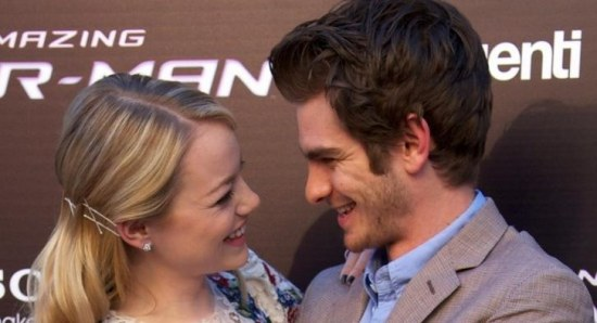 Emma Stone and Andrew Garfield loved up at Spiderman premiere