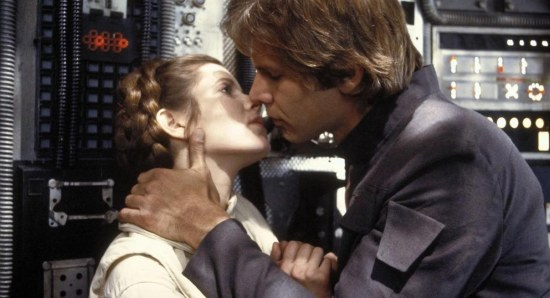 Harrison Ford and Carrie Fisher in Star Wars movie