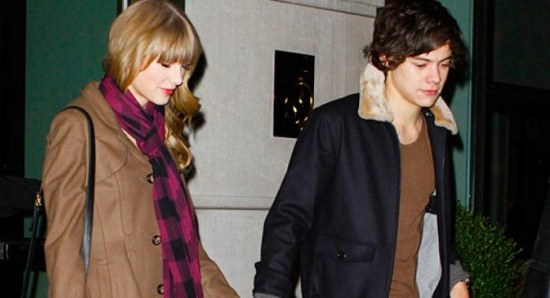 Taylor Swift and Harry Styles hold hands coming out of a hotel