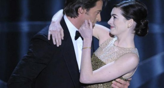 Hugh Jackman and Anne Hathaway performing at the Oscars