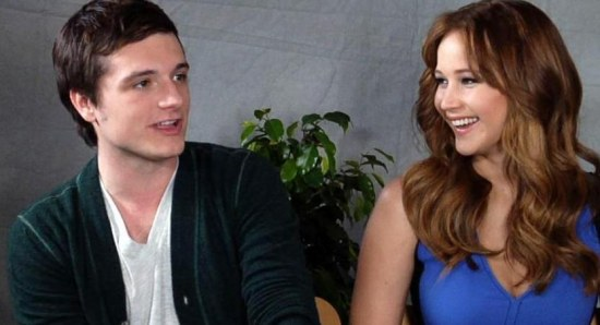 Jennifer Lawrence and Josh Hutcherson at an interview for the Hunger Games