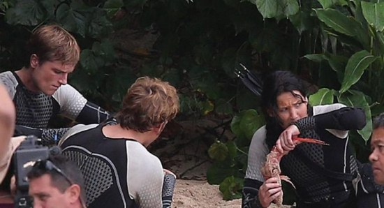 Josh Hutcherson and Jennifer Lawrence filming 'Catching Fire'