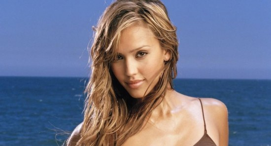 Jessica Alba poses for a swimsuit calender