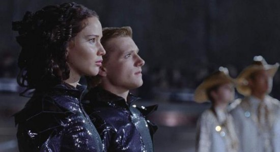 Josh Hutcherson and Jennifer Lawrence in a scene from 'The Hunger Games'