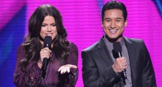 Khloe Kardashian and Mario Lopez on The X Factor USA