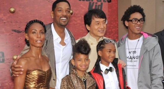 Jaden Smith with his family and Jacki Chan