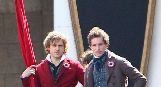Aaron Tveit and Eddie Redmayne shooting a scene for 'Les Miserables'