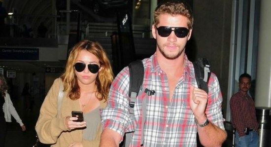 Miley Cyrus and fiancé Liam Hemsworth