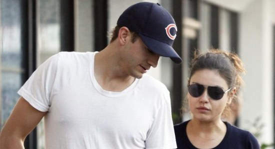 Ashton Kutcher with his current girlfriend Mila Kunis