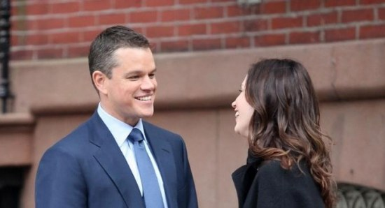 Matt Damon filming 'Adjustment Bureau' with Emily Blunt