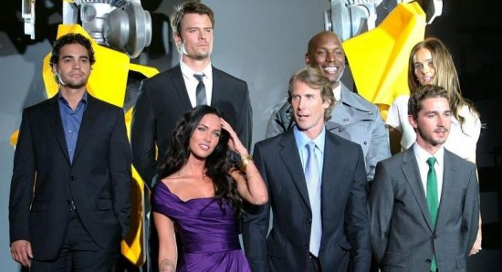 Michael Bay with the cast of Transformers 2 at a premiere