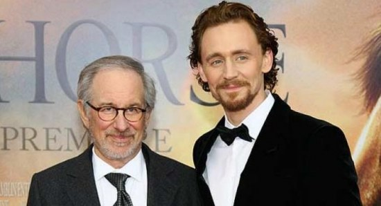 Tom Hiddleston at the War Horse premiere with Steven Spielberg
