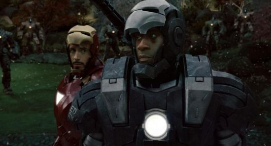 Robert Downey Jr and Don Cheadle in Iron Man 2