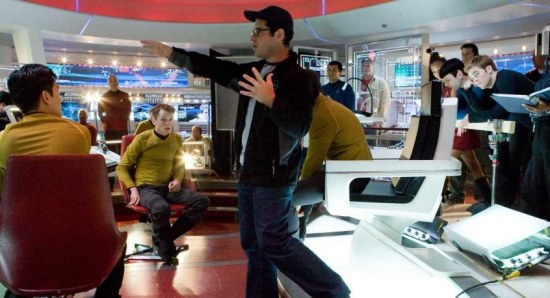 J.J. Abrams on Star Trek set