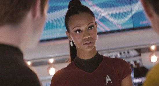 Zoe Saldana as Uhura in 'Star Trek'