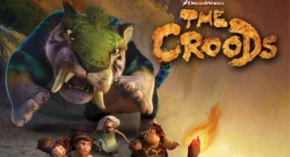 New movie poster for The Croods, starring Nicholas Cage, Ryan Reynolds and Emma Stone