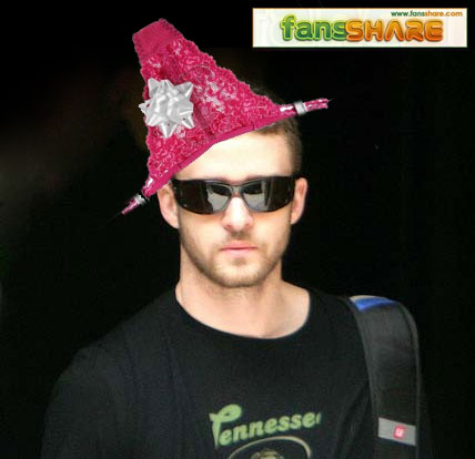 Justin Timberlake with pink underwear on his head