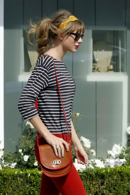 Taylor Swift Black White Striped Top Red Pants Out Shopping Beverly Hills Taylorswift Shopping Beverlyhills Shopping